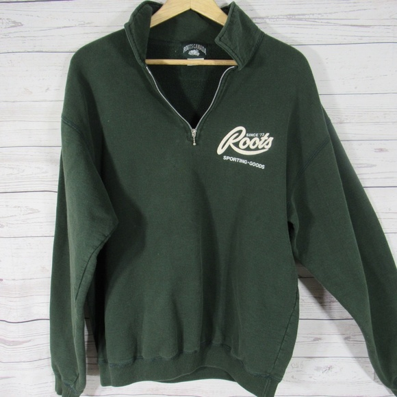 Roots Sweatshirt Mens Medium M Green Half Zip